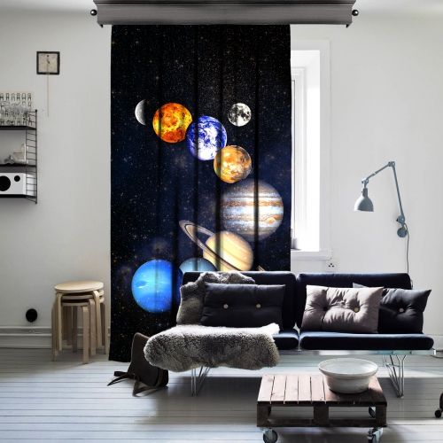 Güneş Sistemi Uzay Tek Kanat Fon Perde