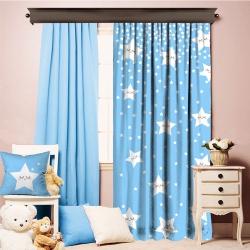 Sevimli Uyuyan Yıldızlar Mavi Tek Kanat Fon Perde