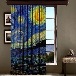 Vincent Van Gogh - Yıldızlı Gece Panel Tek Kanat Fon Perde
