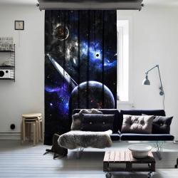 Fantazi Gezegenler Uzay Tek Kanat Fon Perde