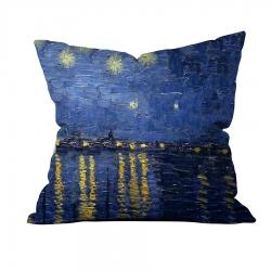 Vincent Van Gogh - Rhone Üzerinde Yazılı Yıldızlı Gece 1 Kırlent