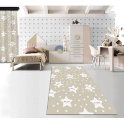 Sevimli Uyuyan Yıldızlar Krem Baskılı Halı