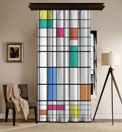 Piet Mondrian - Renk ve Çizgi Blackout Tek Kanat Fon Perde