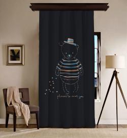 Teddy Ayıcık Tek Kanat Fon Perde