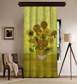 Vincent Van Gogh - Ayçiçekleri Blackout Tek Kanat Fon Perde