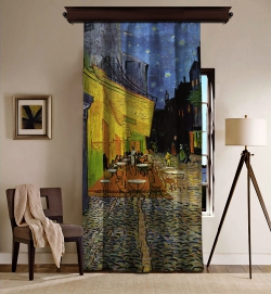 Vincent Van Gogh - Teras Kafe Blackout Tek Kanat Fon Perde