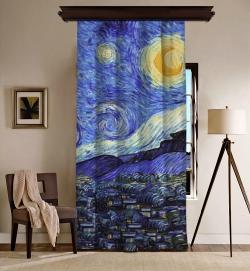 Vincent Van Gogh - Yıldızlı Gece Blackout Tek Kanat Fon Perde