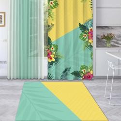 Sarı Mint Yeşili Yaz Çiçekleri Baskılı Halı