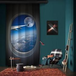 Uçakta Gökyüzü ve Ay Manzarasi Tek Kanat Fon Perde